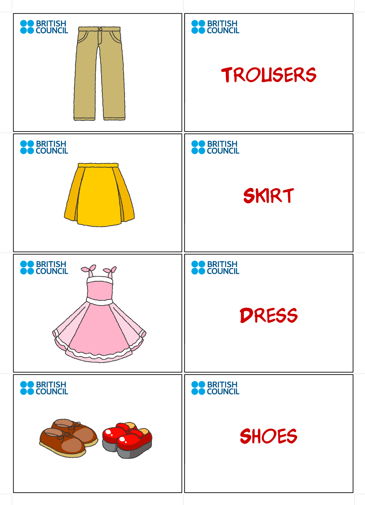 Clothes Flash Cards For Kids Printables | Flash Cards | Flashcards - Free Printable Flash Card Maker
