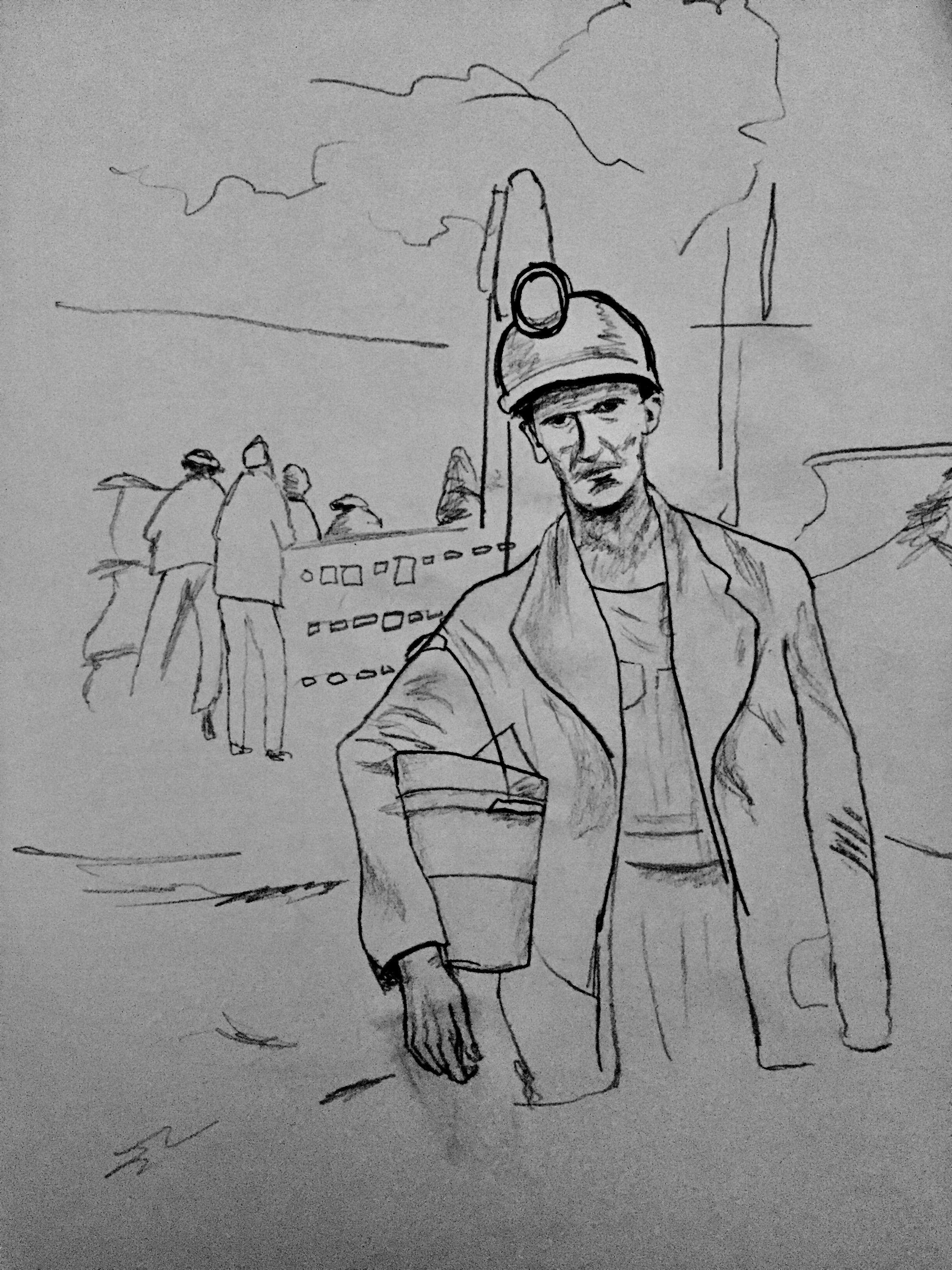 Coal Miner (Isadora Harper, Pencil Drawing, 2017)   Isadora Harper - Free Printable Pencil Drawings