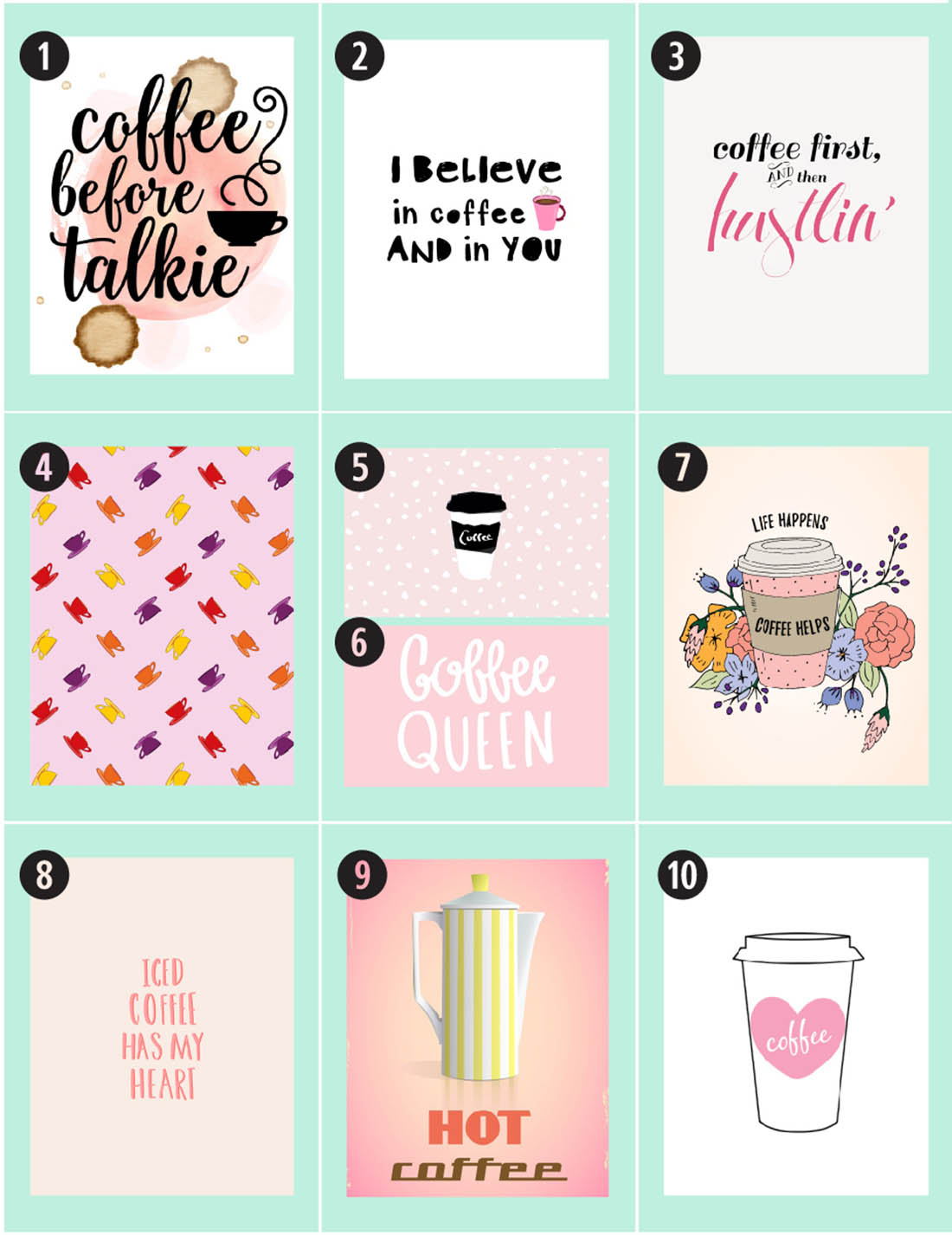 Coffee Free Printables: 180+ Ultimate Guide • Little Gold Pixel - Free Coffee Printable Art