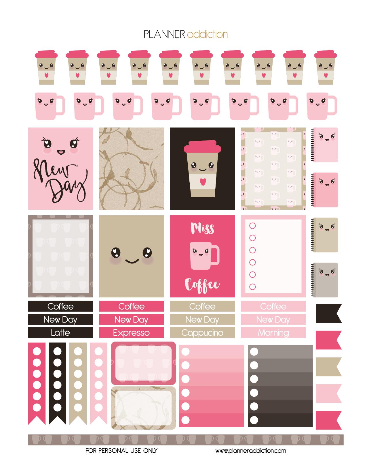 Coffee Kawaii – Planner Addiction - Free Printable Kawaii Stickers