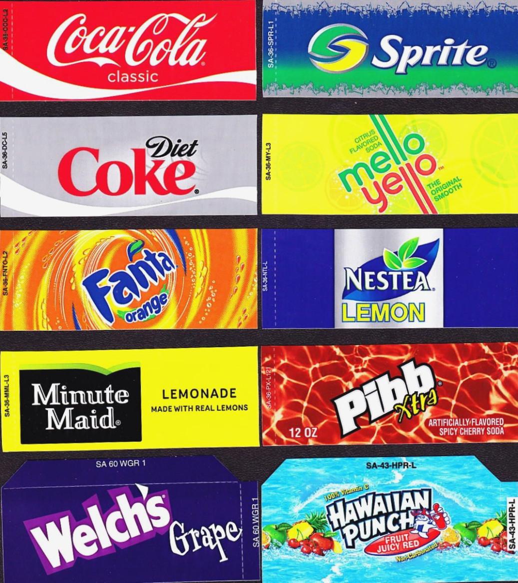 Coke Machine Labels   14 Coke Mixed Set Small Flavor Labels Soda - Free Printable Pop Machine Labels