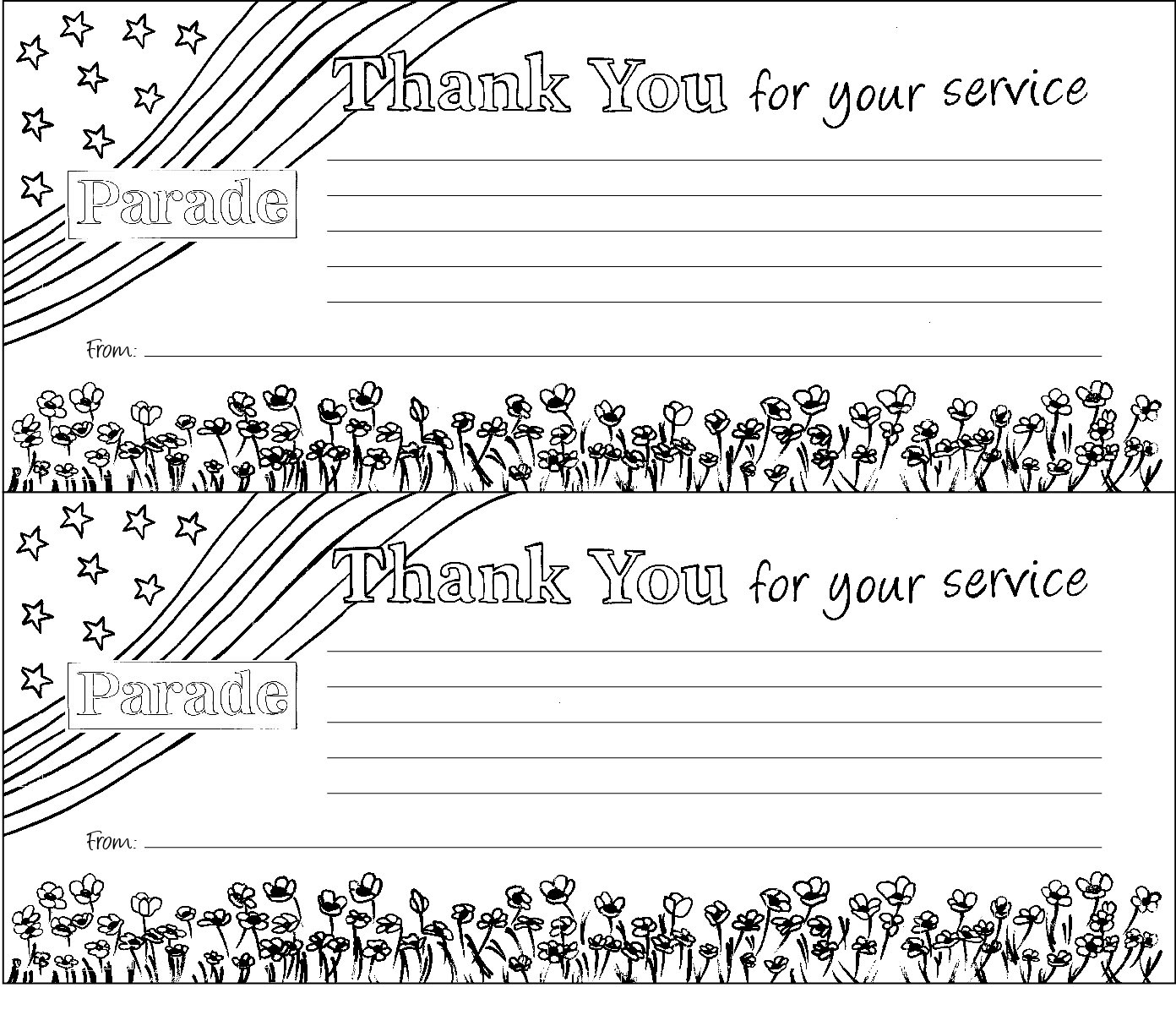 Color A Free Downloadable Veterans Day Thank You Note Or Make A Pipe - Veterans Day Free Printable Cards
