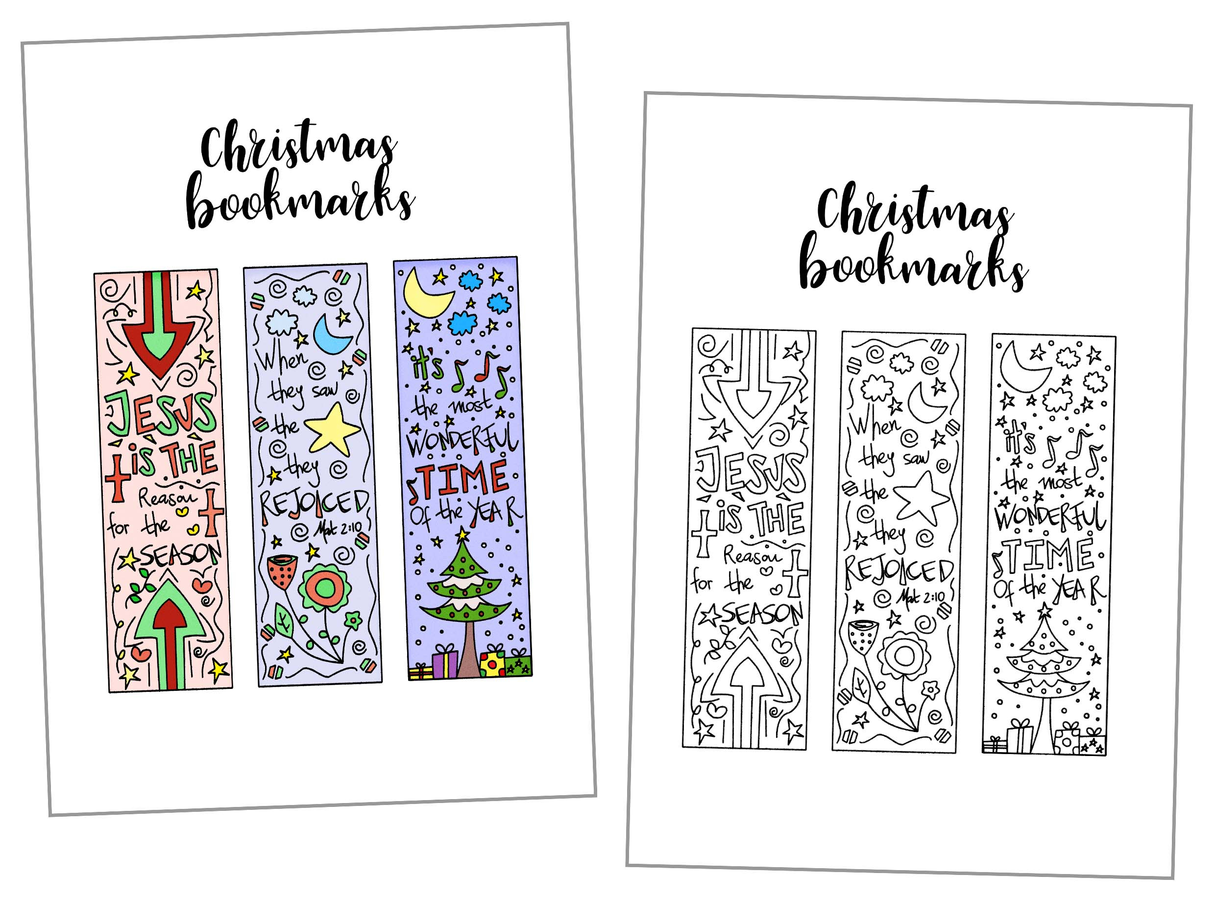 Coloring Christmas Bookmarks Free Printable ~ Daydream Into Reality - Free Printable Baby Bookmarks