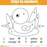 Coloring Page With Duck Bird. Colornumbers Educational Children   Toddler Learning Activities Printable Free