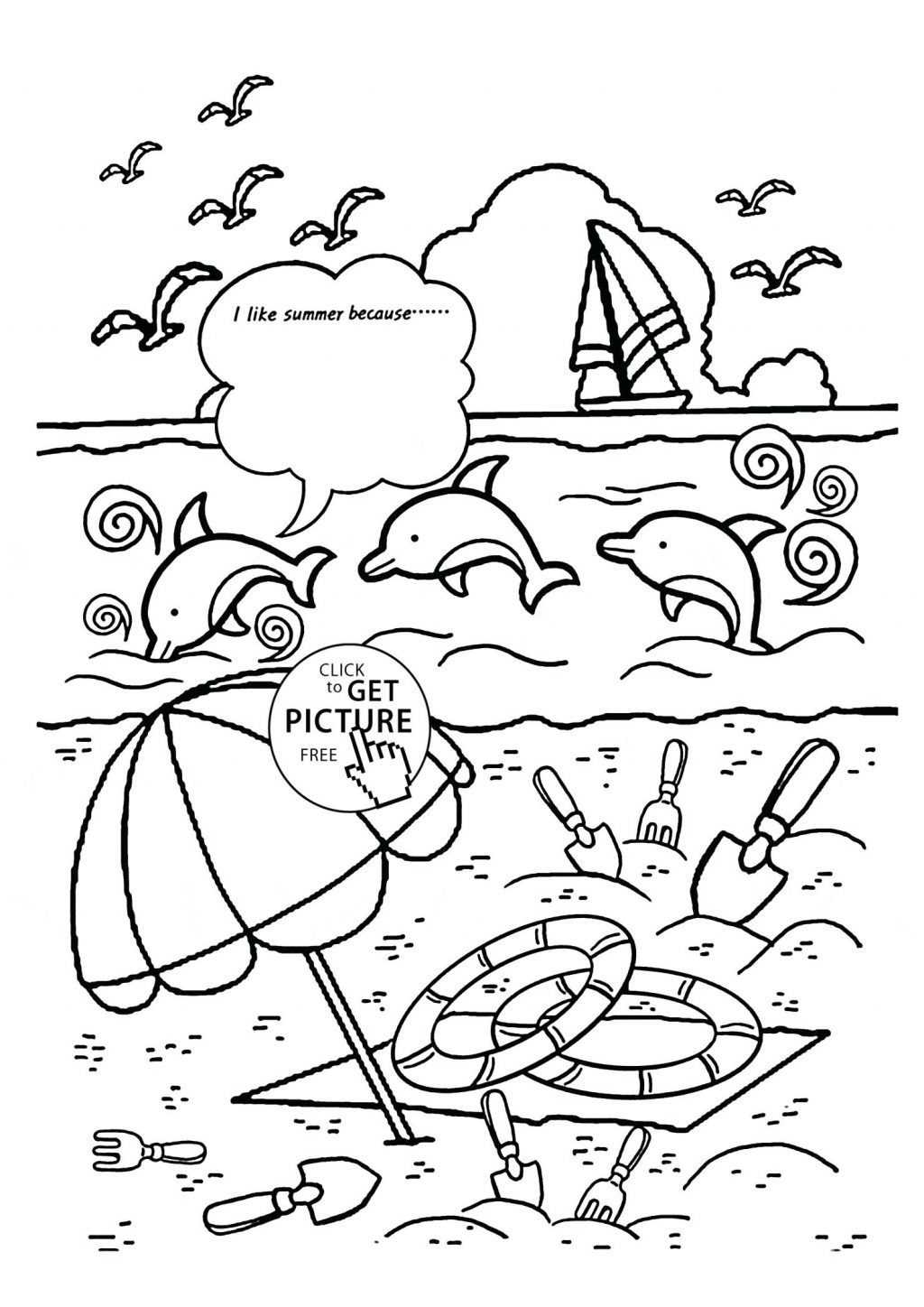 Coloring Pages ~ Free Beach Coloring Pages Incredible Picture - Free Printable Beach Coloring Pages