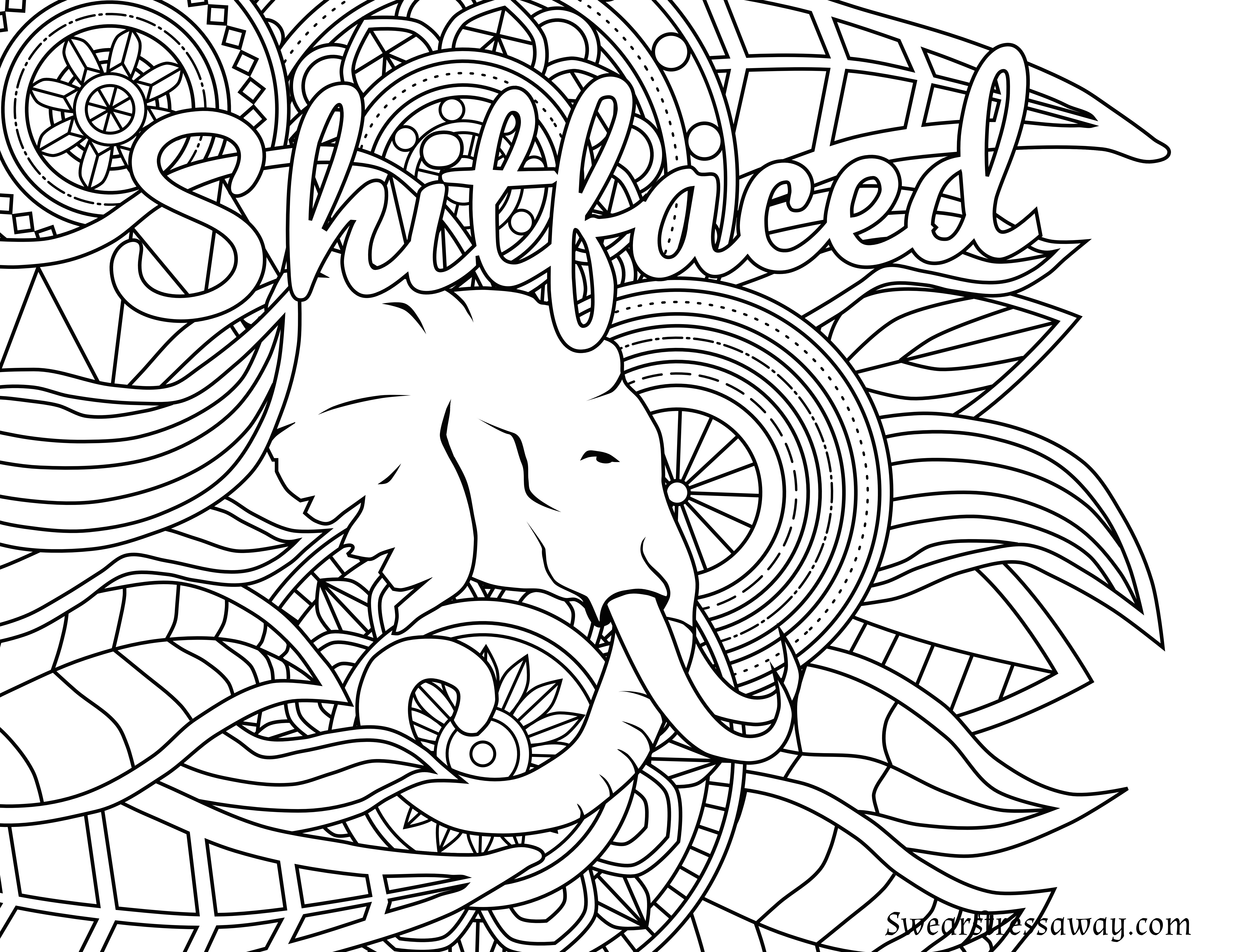 Coloring Pages : Free Printable Coloring Page Shitfaced Swear Word - Free Printable Swear Word Coloring Pages