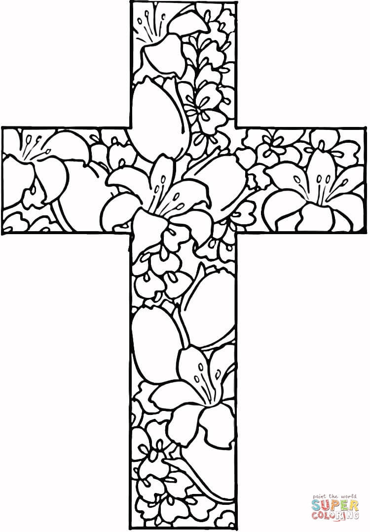Coloring Pages ~ Free Printable Easter Coloring Pages Flowers In - Free Printable Cross