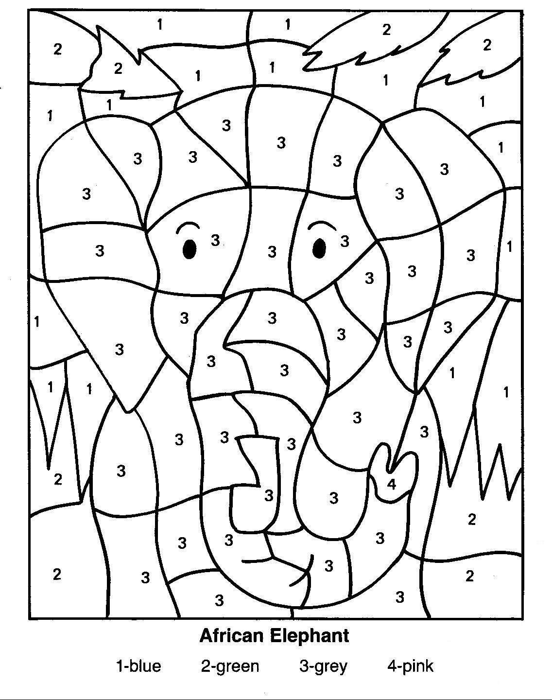 Coloring Pages Of African Animals | African Elephant Colornumber - Free Printable Worksheets On Africa