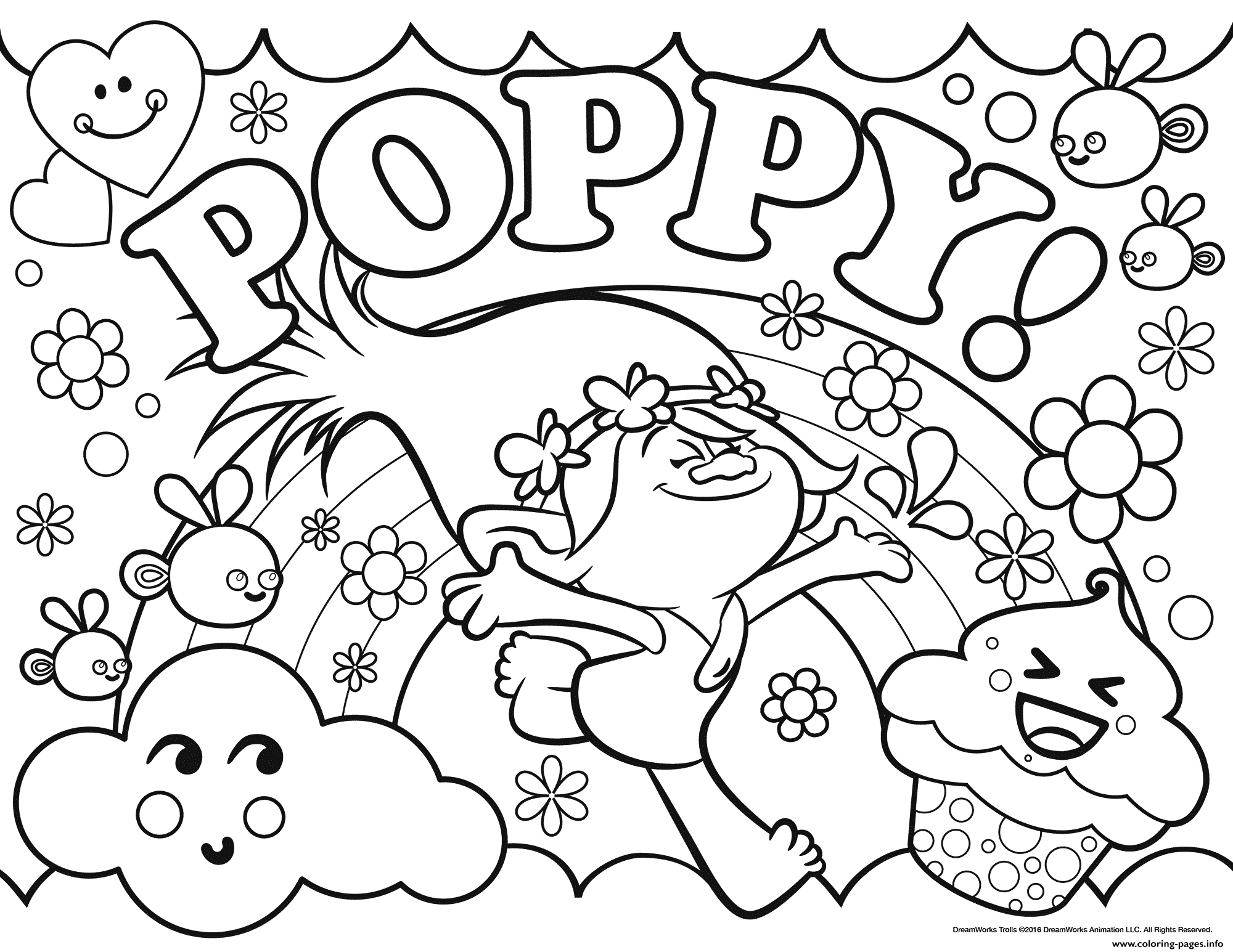 Coloring Pages : Trolls Poppy Coloring Pagestable For Kids Branch - Free Printable Troll Coloring Pages