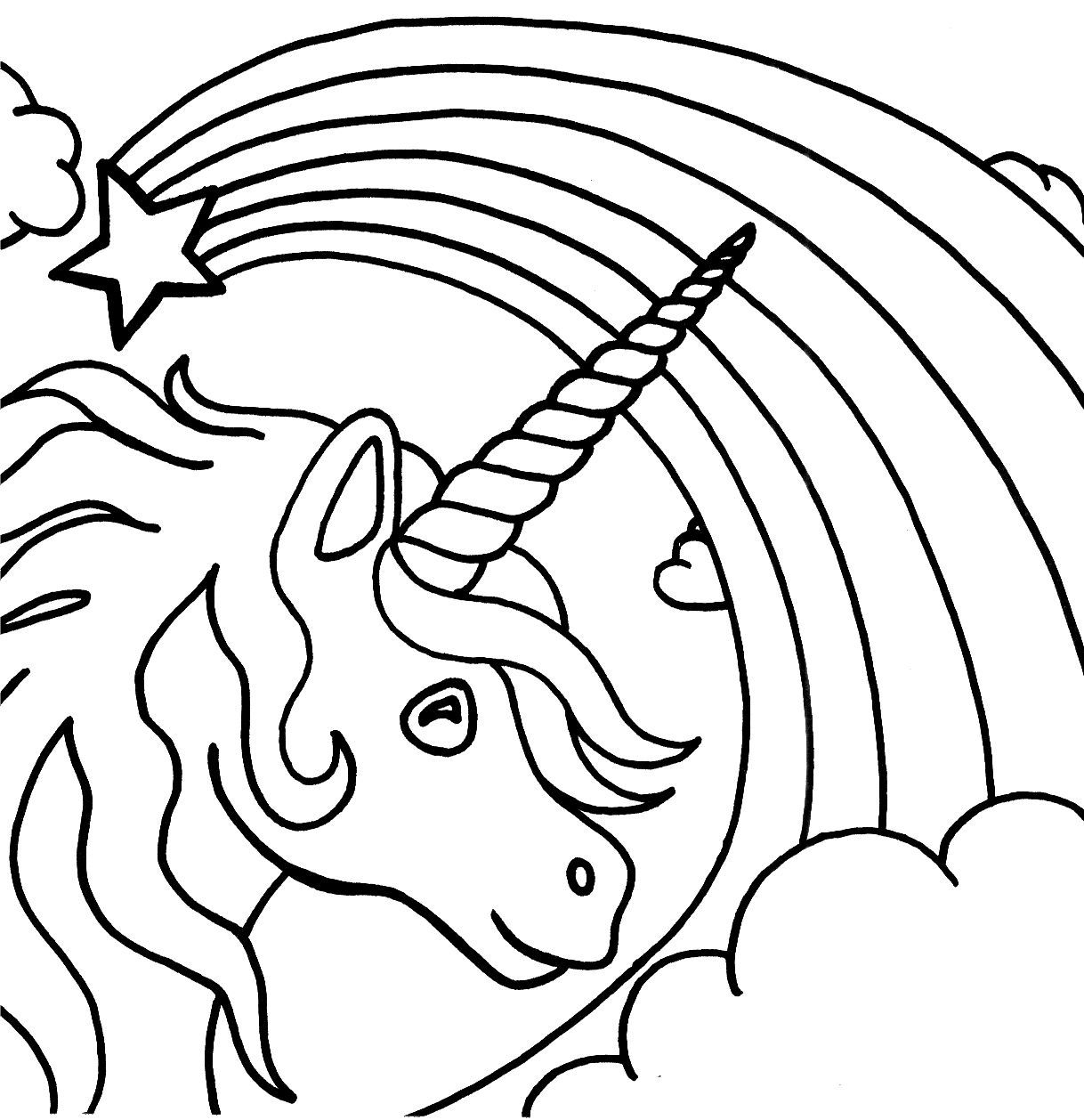 Coloring Pages : Unicorn Coloring For Kids Picture Ideas Pages Free - Free Printable Unicorn Coloring Pages