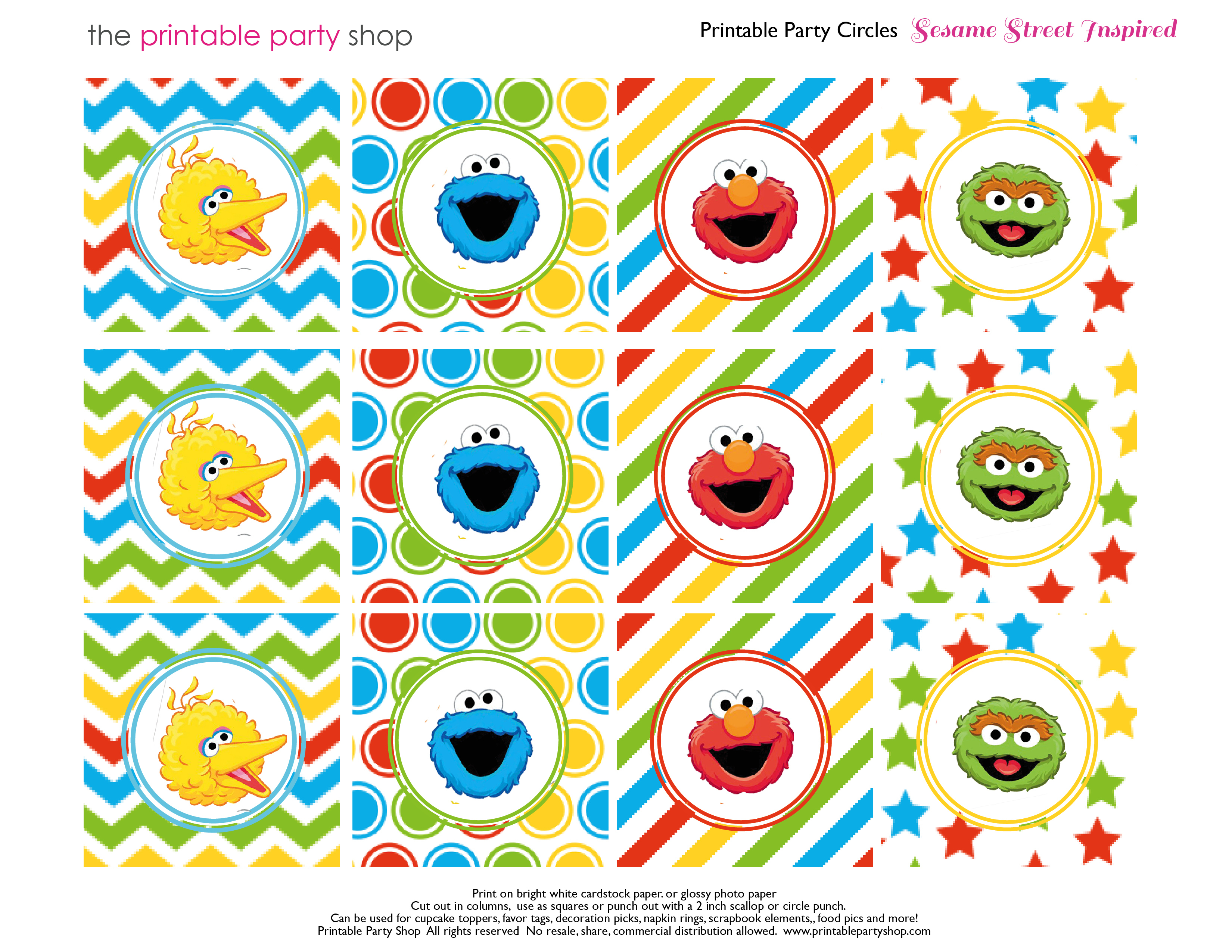 Coloured Sugar | Sesame Street Party - Free Printable Sesame Street Cupcake Toppers