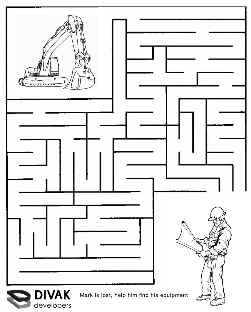 Construction Maze | Summer Camp Construction | Pinterest | Mazes For - Free Printable Mazes For Kids