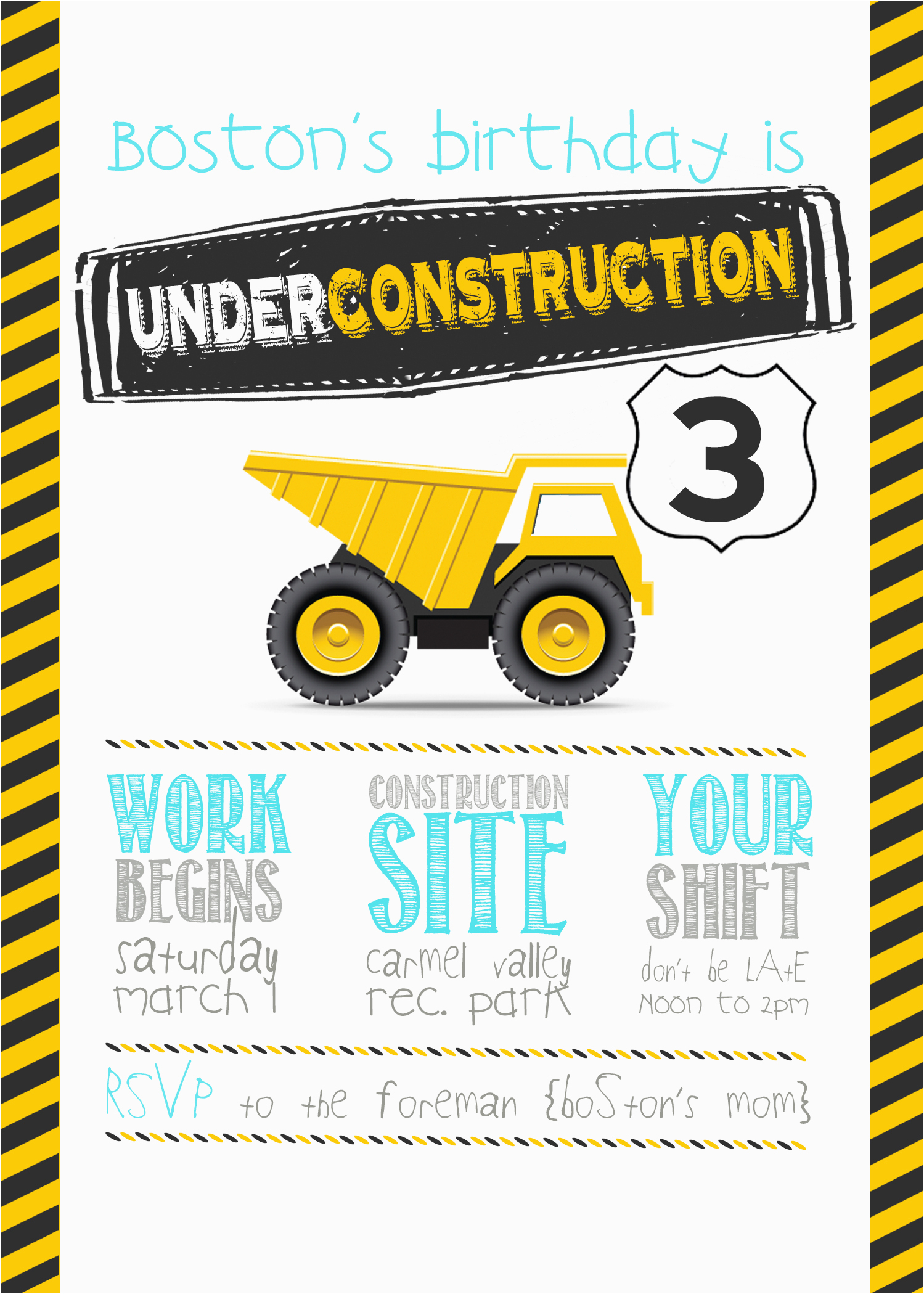 Construction Theme Birthday Invitations | Birthdaybuzz - Free Printable Construction Invitations