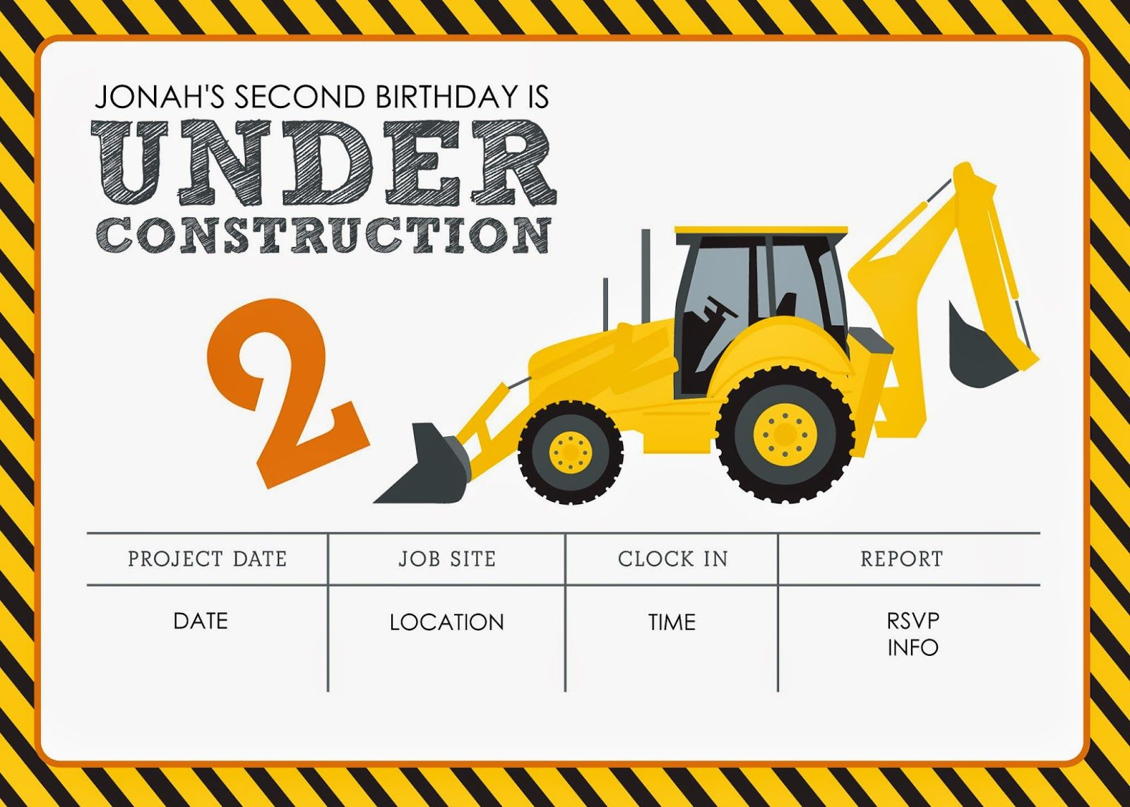 Construction Themed Birthday Party Free Printables | Jacqueline - Free Printable Construction Invitations