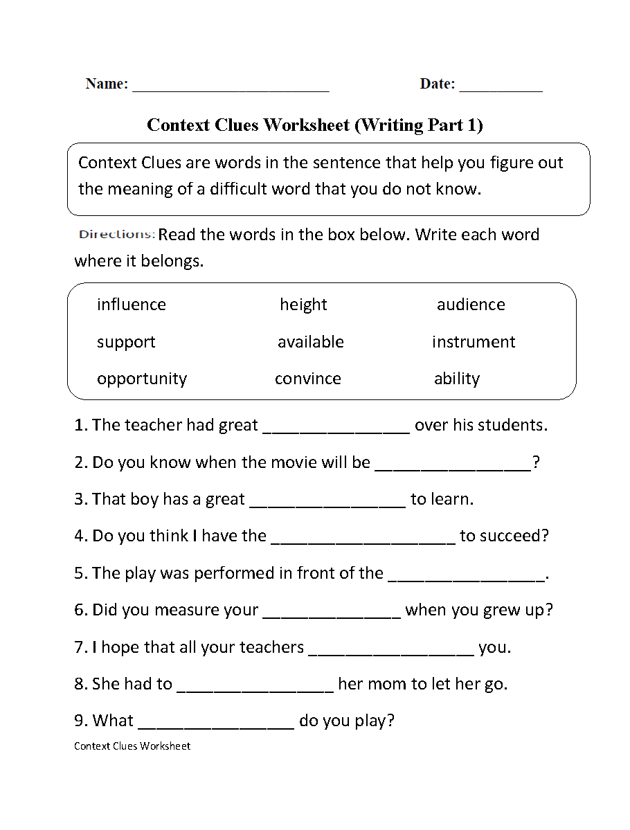 Context Clues Worksheet Writing Part 1 Intermediate | Ela - Free Printable 5Th Grade Context Clues Worksheets