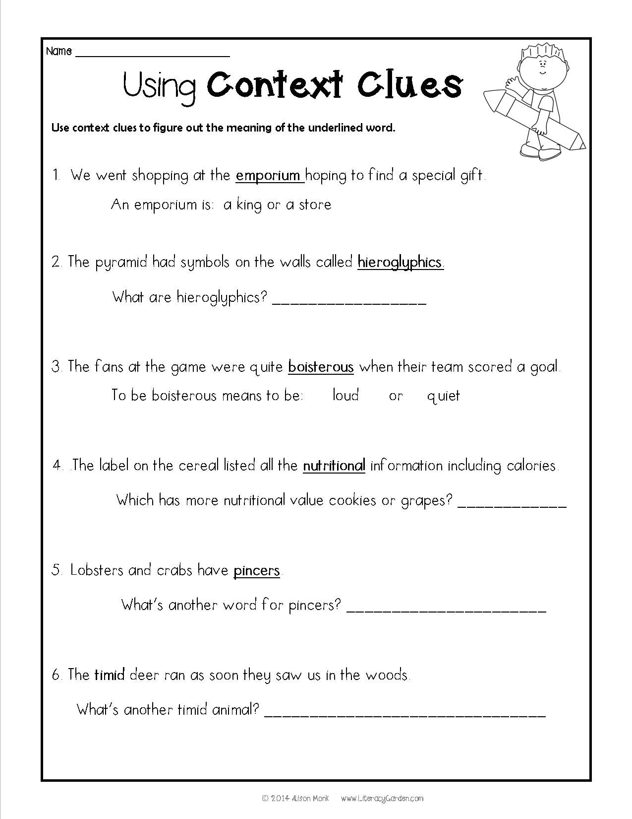 Context Clues Worksheets 3Rd Grade For Learning - Math Worksheet For - Free Printable 5Th Grade Context Clues Worksheets