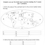 Continents And Oceans Of The World Worksheet Worksheets For All   Free Printable Map Of Continents And Oceans