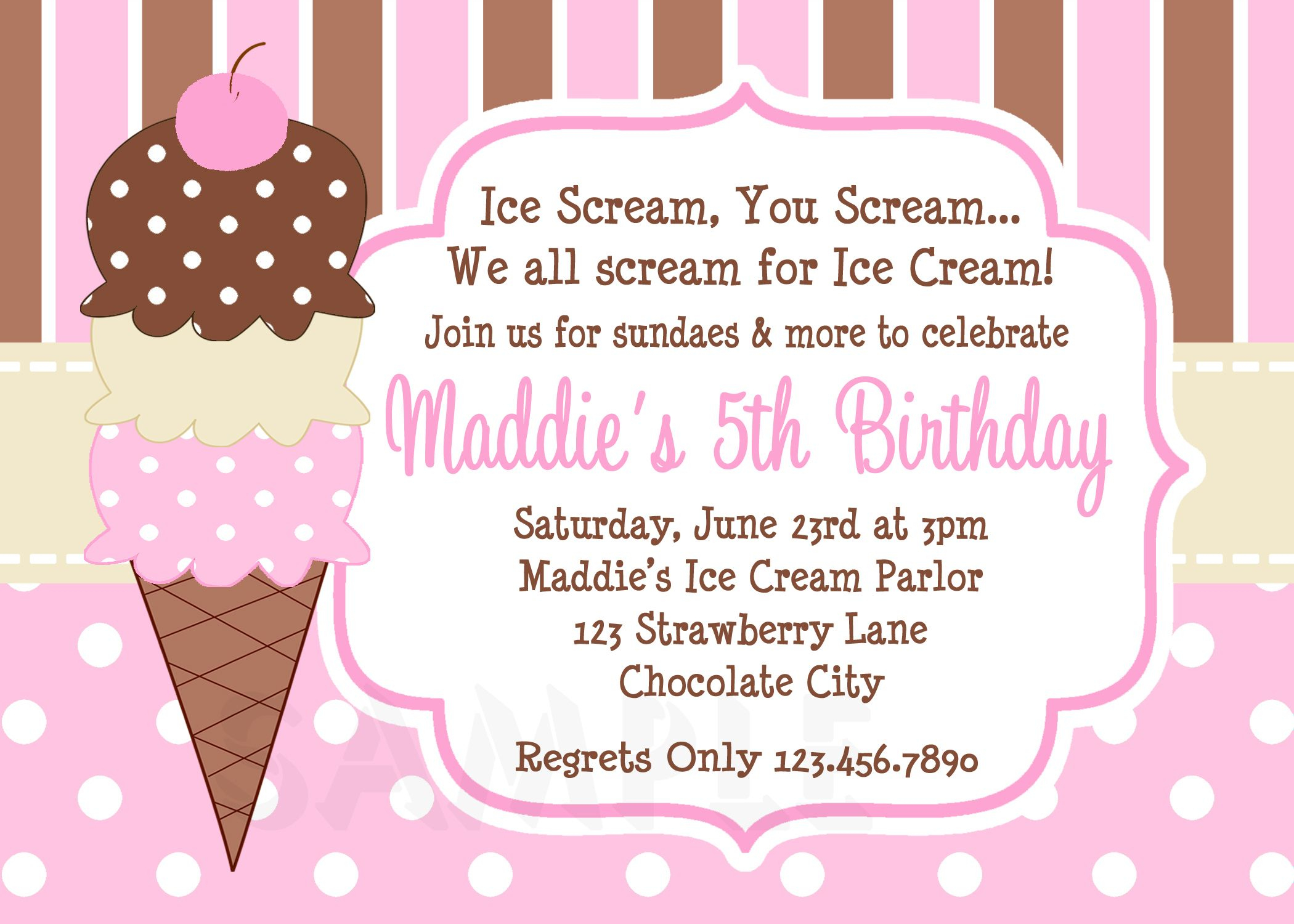 Cool Free Template Ice Cream Birthday Party Invitations   Bagvania - Ice Cream Party Invitations Printable Free