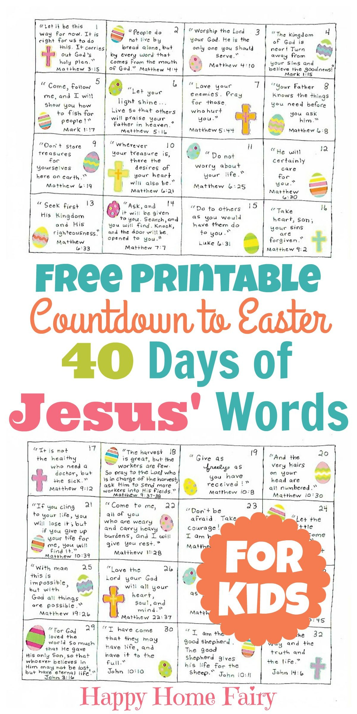 Countdown To Easter - 40 Days Of Jesus' Words For Kids (Free - Free Printable Religious Easter Bookmarks