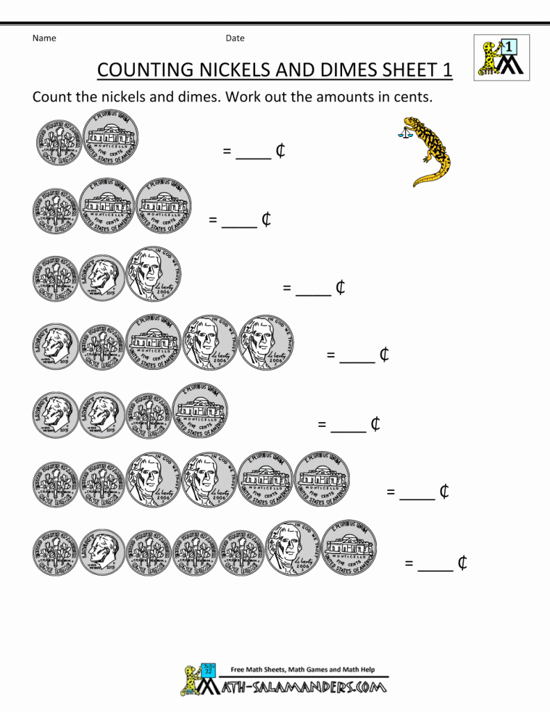 Counting Money Worksheets 1St Grade For Printable - Math Worksheet - Free Printable Money Worksheets For 1St Grade