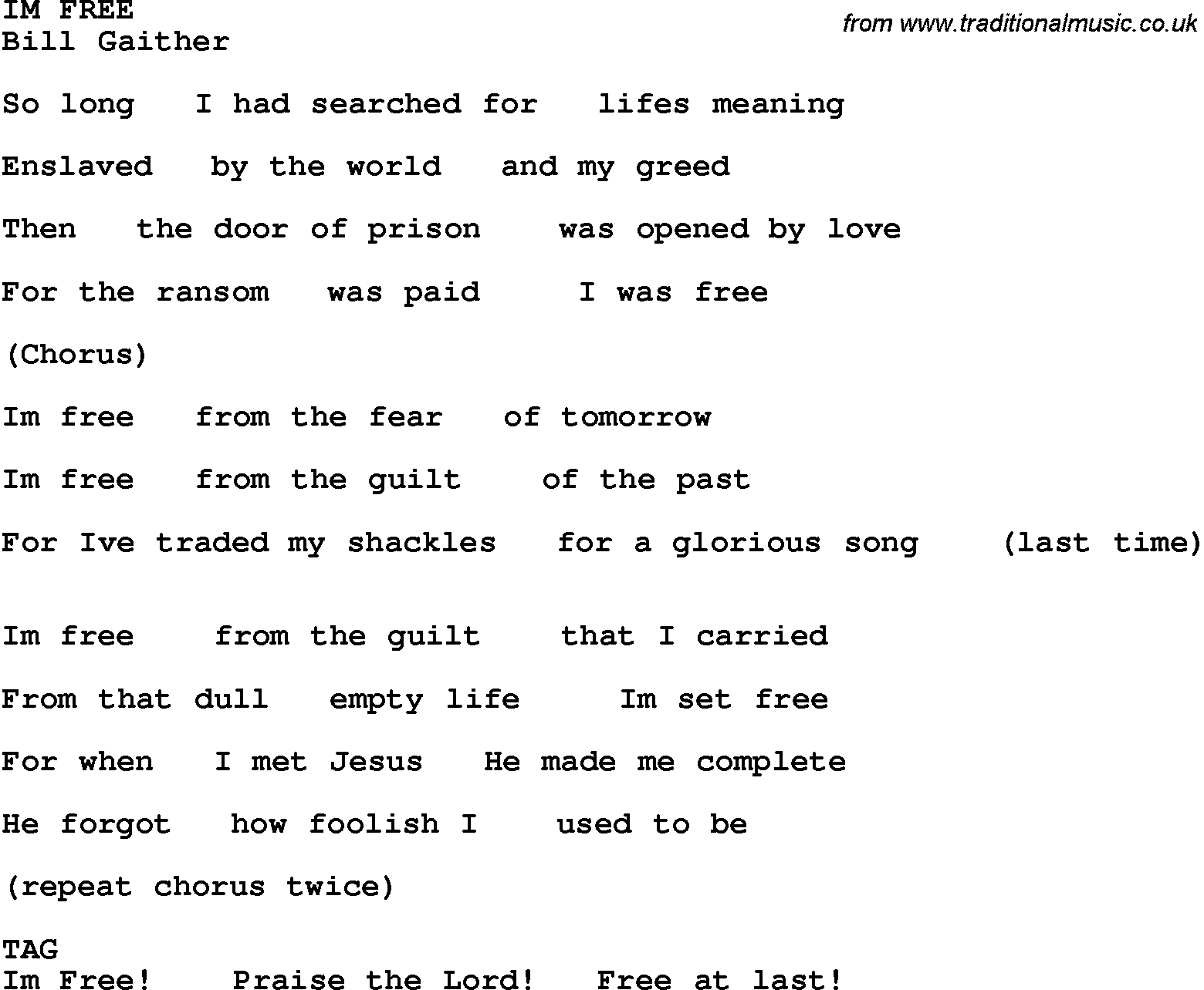 Country, Southern And Bluegrass Gospel Song Im Free Lyrics - Free Printable Southern Gospel Song Lyrics