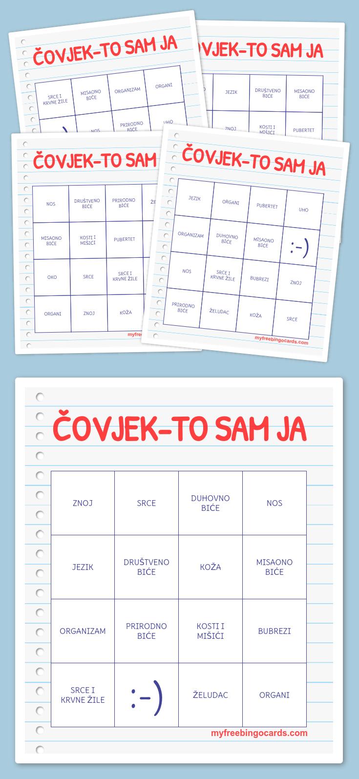 Čovjek-To Sam Ja Bingo | Alati U Nastavi | Bingo, Bingo Cards, Math - Fraction Bingo Cards Printable Free