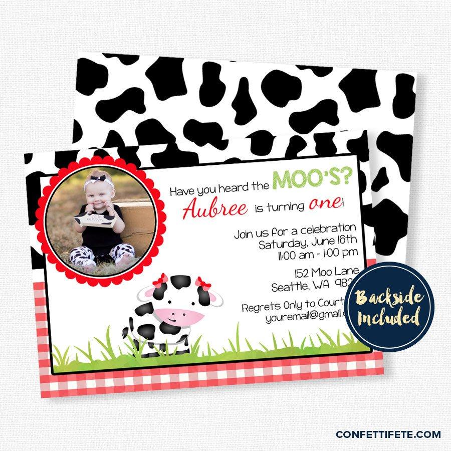 Cow Birthday Invitation Farm Birthday Invitation Red Cow   Etsy - Free Printable Cow Birthday Invitations