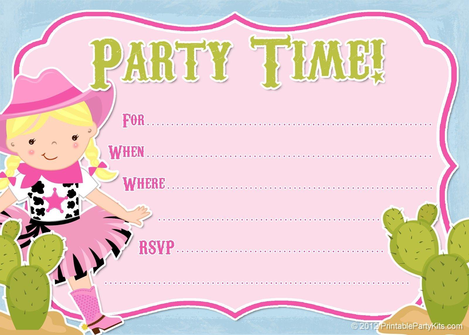 Cowgirl Birthday Invitations Free Printable Party Invitation From - Free Printable Party Invitations