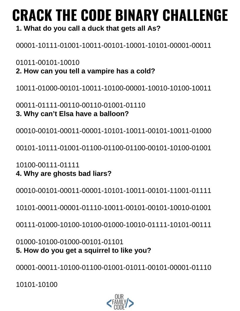 Crack The Code - Binary Code 5-Bit Challenge - Crack The Code Worksheets Printable Free
