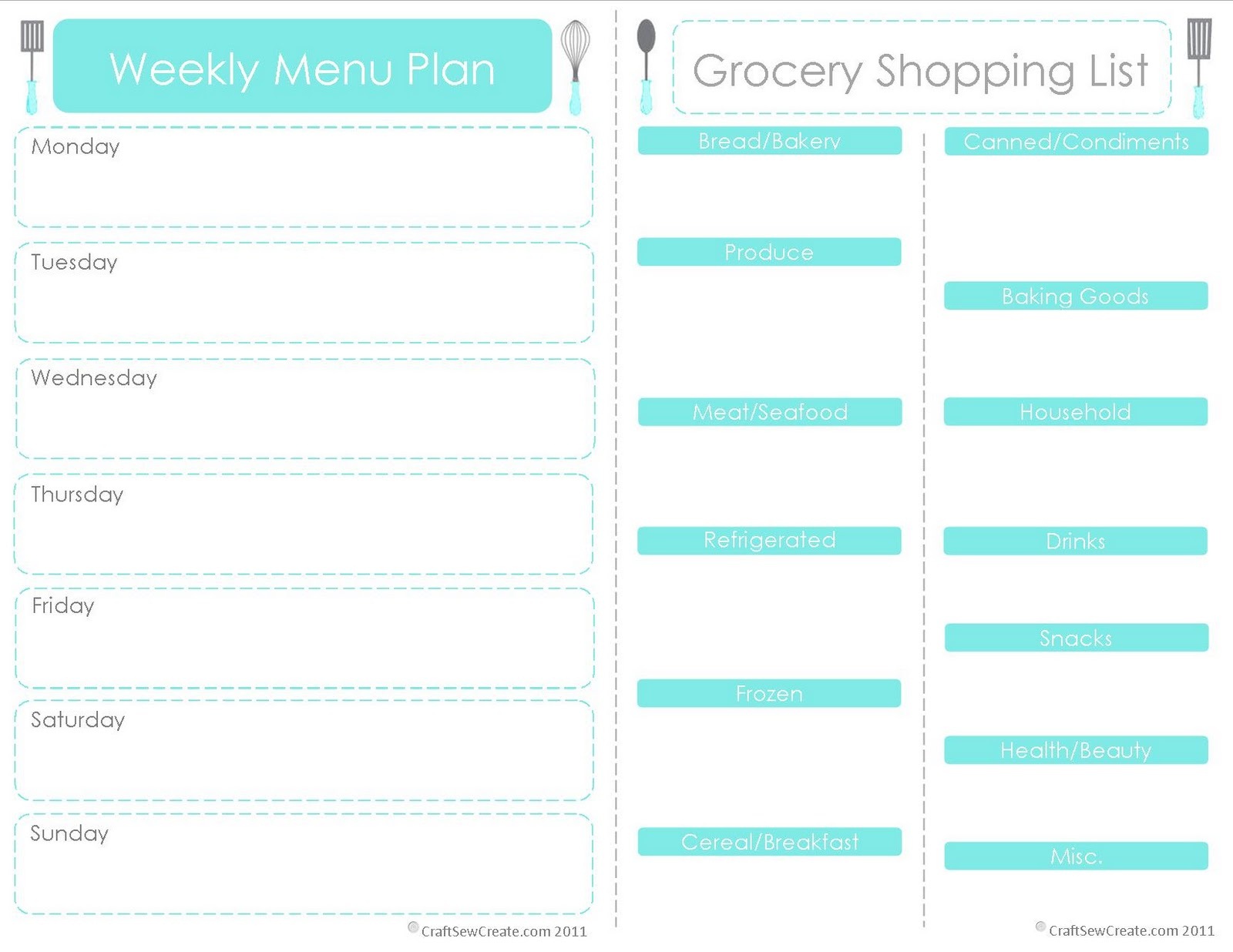 Craft Sew Create: Free Printable Menu Plan + Shopping List - Create A Menu Free Printable