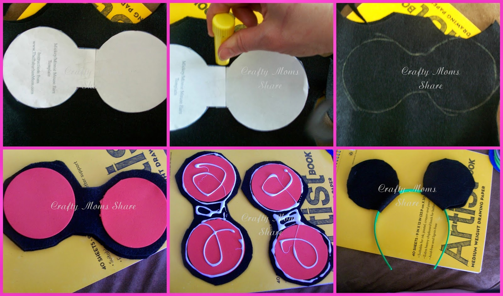 Crafty Moms Share: Diy Mickey And Minnie Mouse Ears And Free - Free Printable Minnie Mouse Ears Template