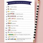 Creative Bridal Shower Games 42 | Wedding Things To Keep In 2019   Wedding Emoji Pictionary Free Printable