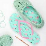 Crochet Slippers With Flip Flop Soles    Free Pattern + Video Tutorial!   Free Printable Flip Flop Pattern
