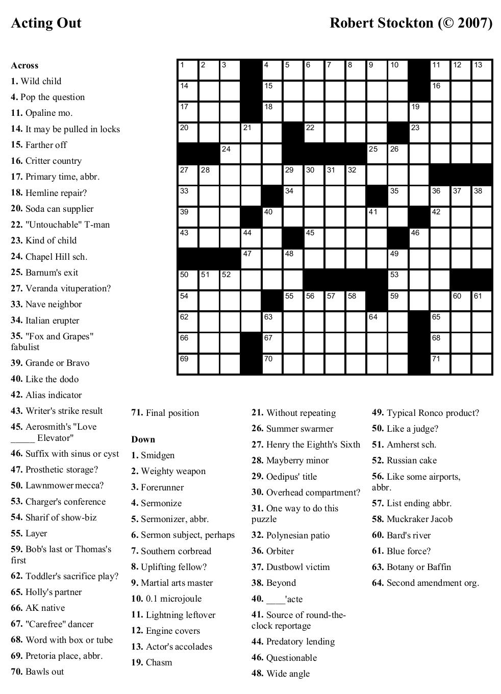 Crossword Puzzle Download Crosswords Actingout ~ Themarketonholly - Free Printable Crossword Puzzle Maker Download