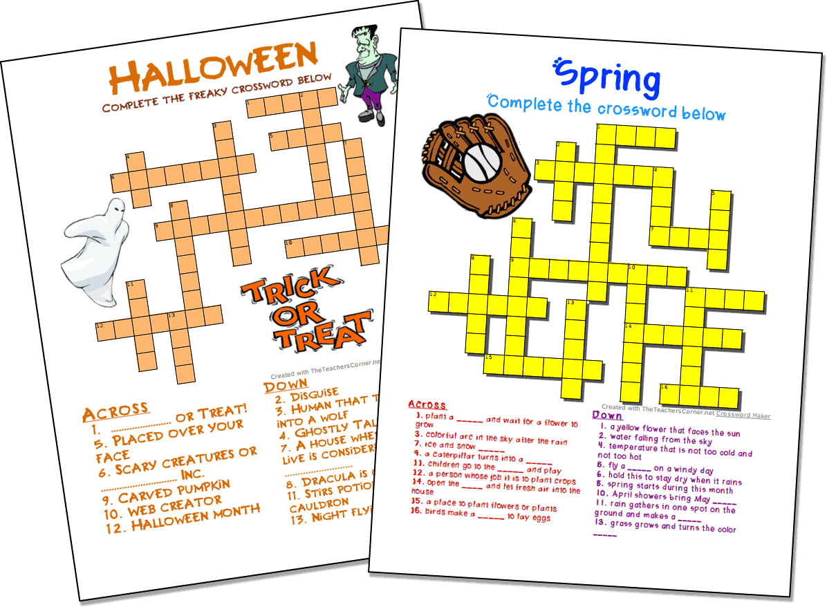 Crossword Puzzle Maker | World Famous From The Teacher's Corner - Free Printable Crossword Puzzle Maker With Answer Key