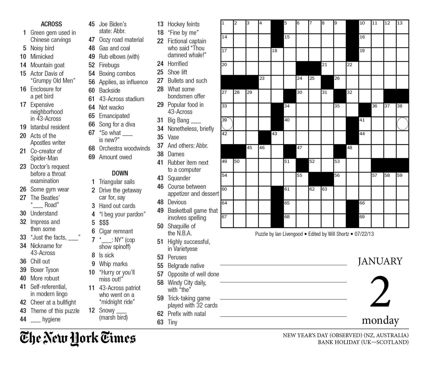 Crossword Puzzle Printable New York Times Crosswords ~ Themarketonholly - New York Times Crossword Printable Free