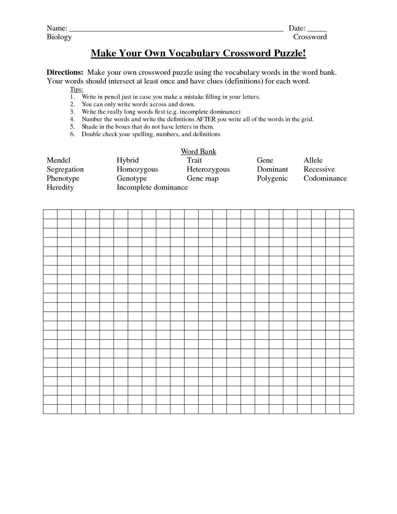 Crosswords Crossword Puzzle Make Your ~ Themarketonholly - Make Your Own Crossword Puzzle Free Printable