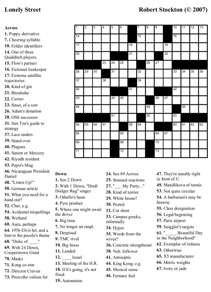 Free Printable Crossword Puzzles Medium Difficulty