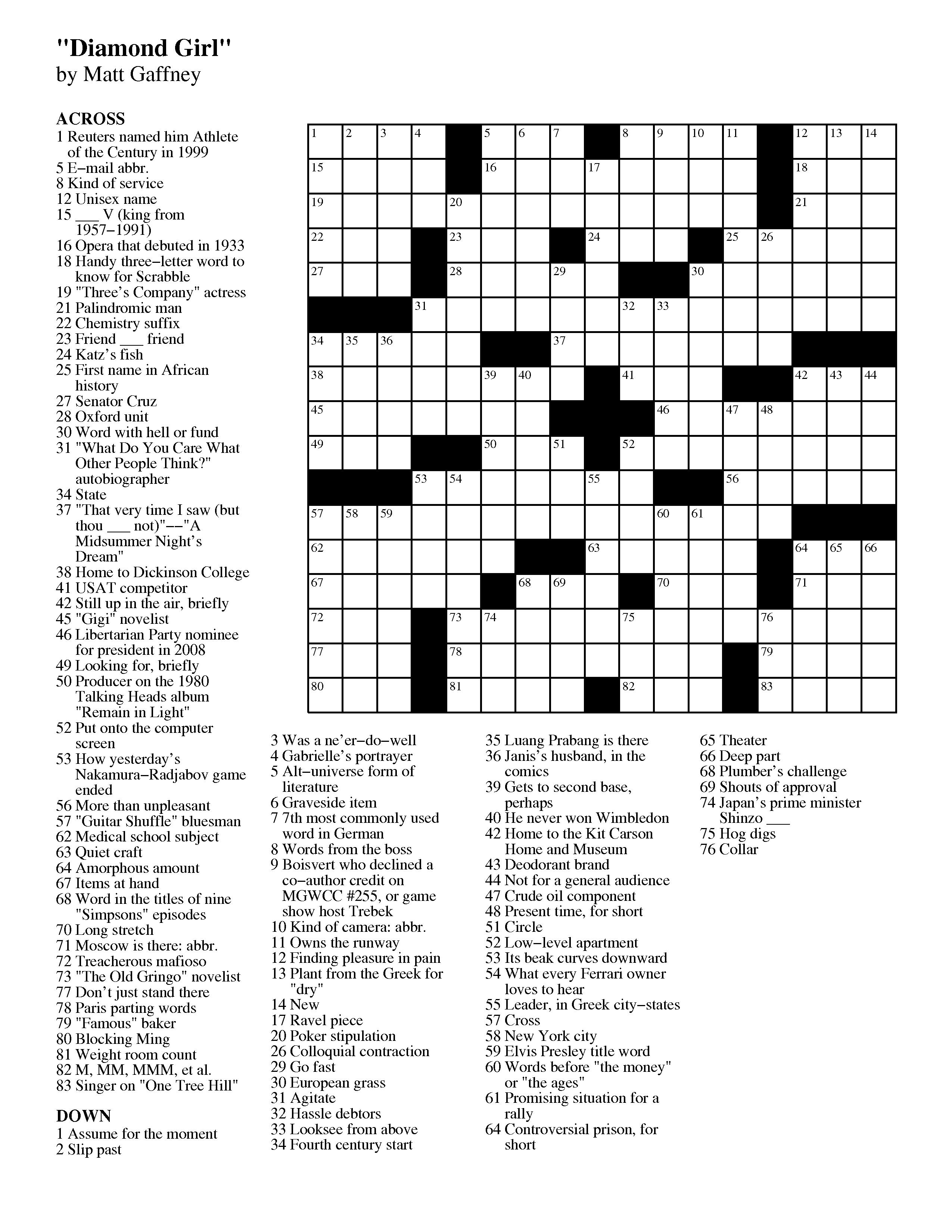 Crosswords Easy Crossword Puzzle Printable With Answers - Free Printable Easy Crossword Puzzles