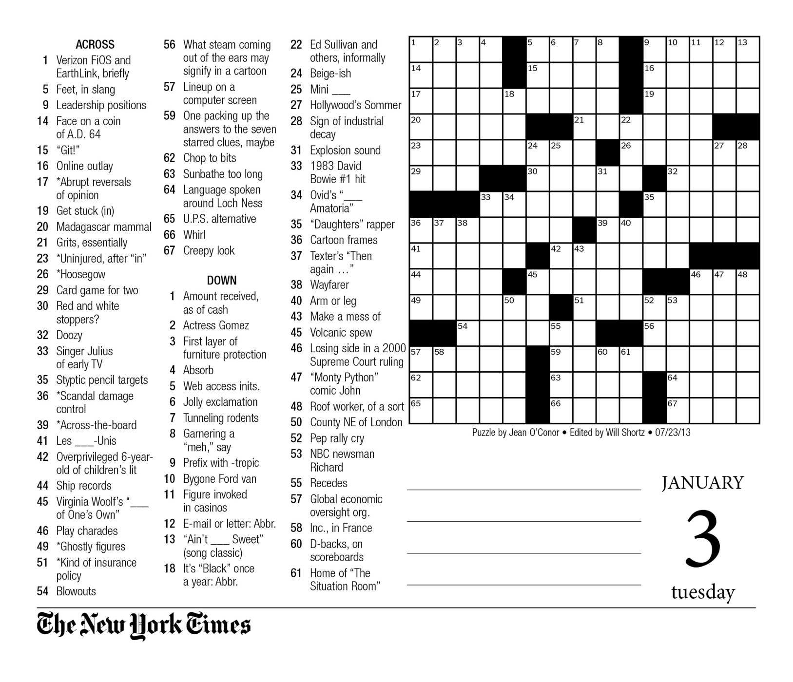 photograph regarding La Times Printable Crossword Puzzle identified as Free of charge La Instances Crossword Printable Totally free Printable Obtain