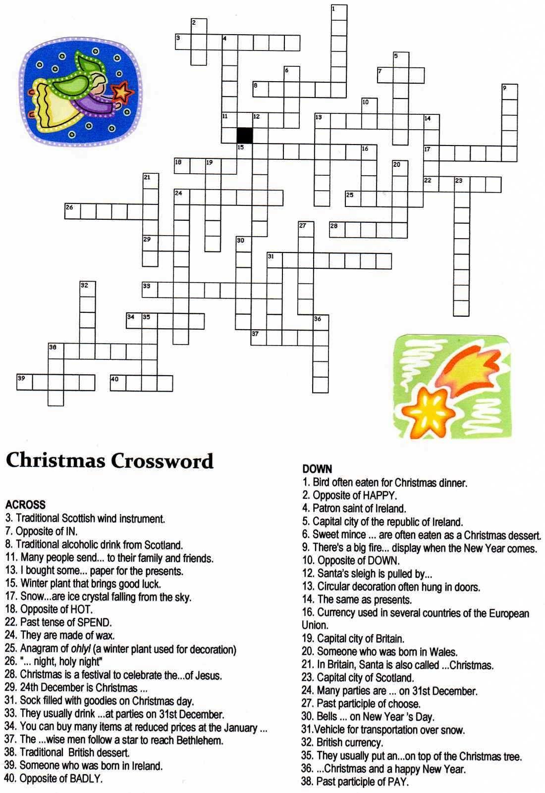 Crosswords Xmas Crossword ~ Themarketonholly - Free Printable Christmas Puzzle Games