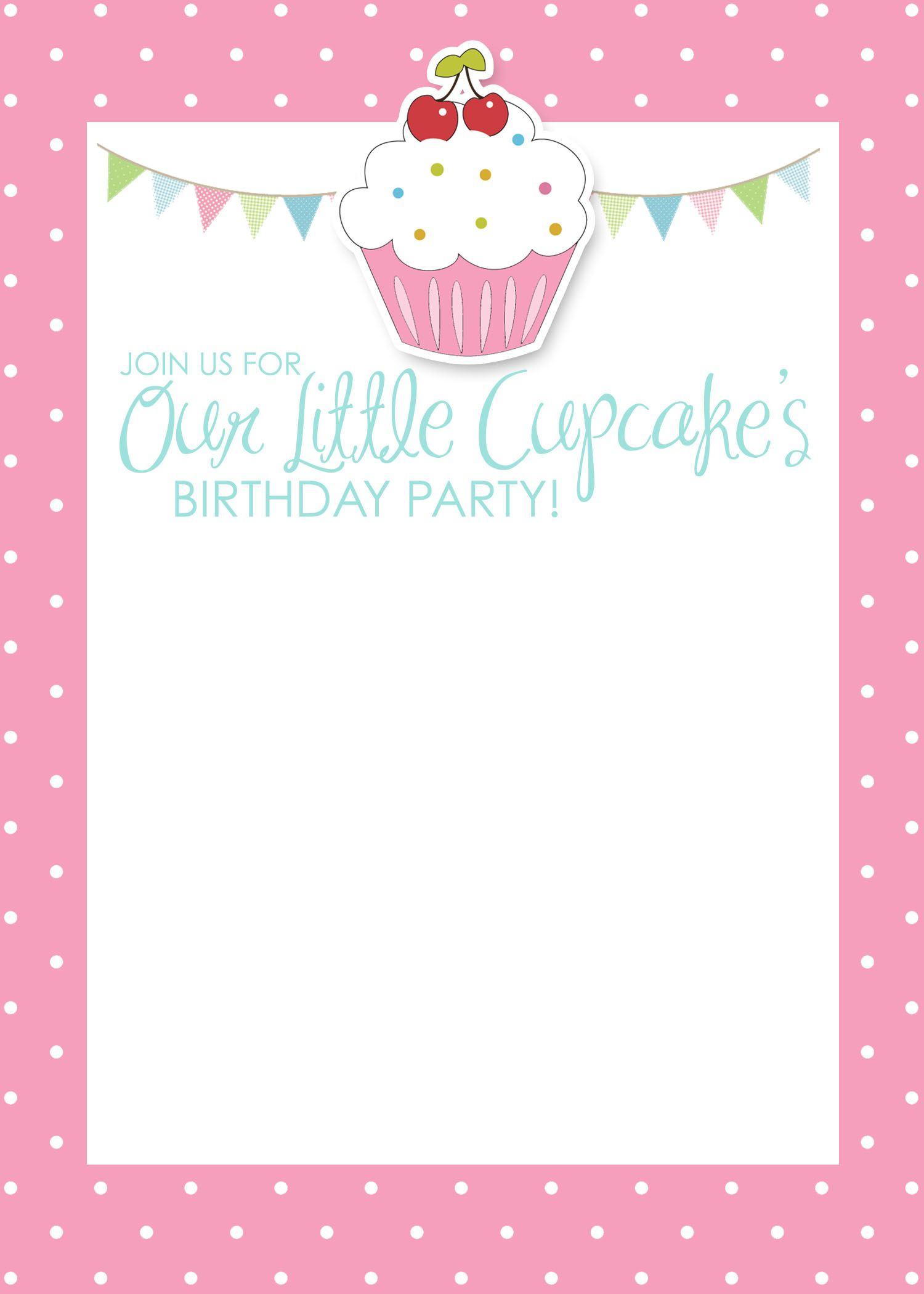 Cupcake Birthday Party With Free Printables | Parties W/ Pizzaz - Free Printable Polka Dot Birthday Party Invitations