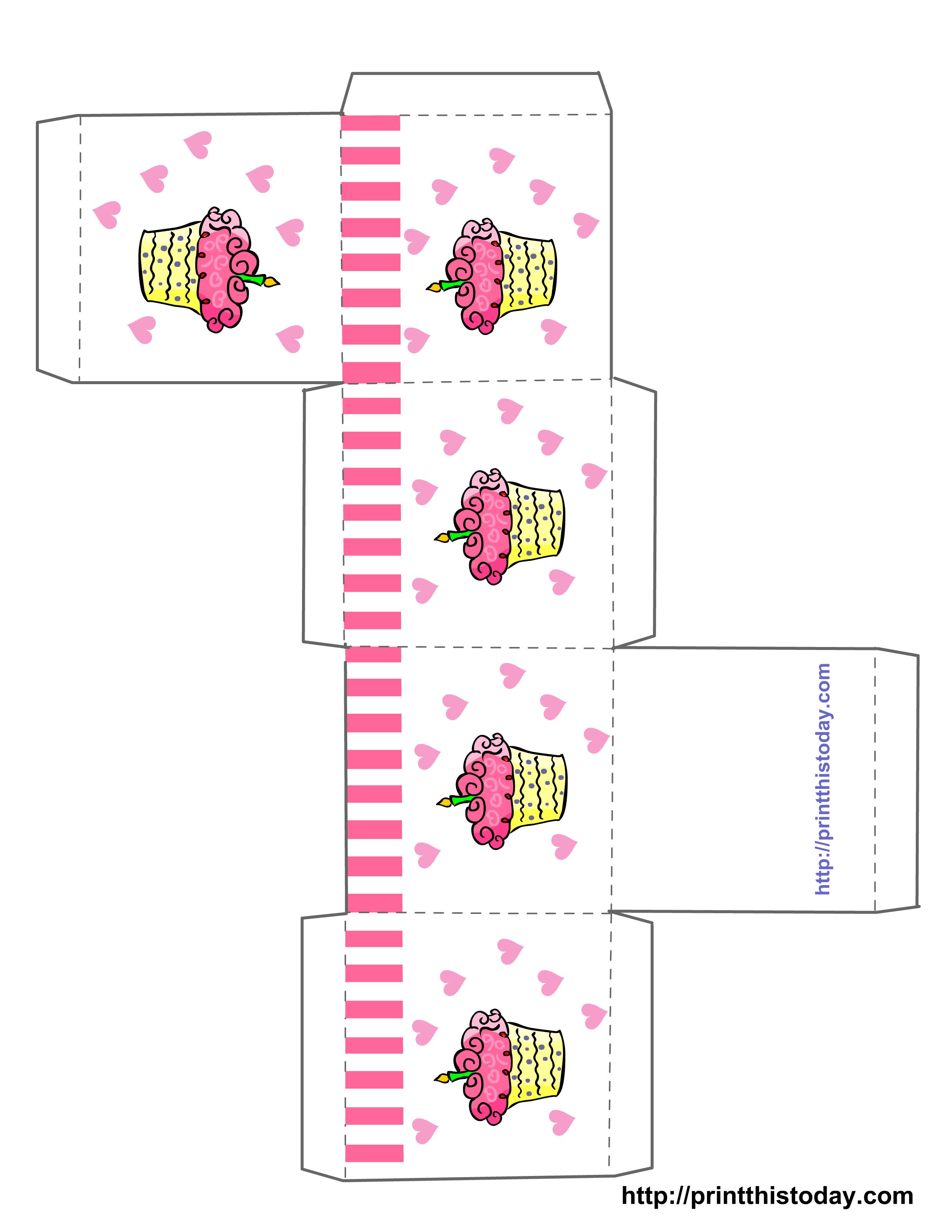 Cupcake Boxes Template Printable | Free Printable Birthday Favor - Box Templates Free Printable
