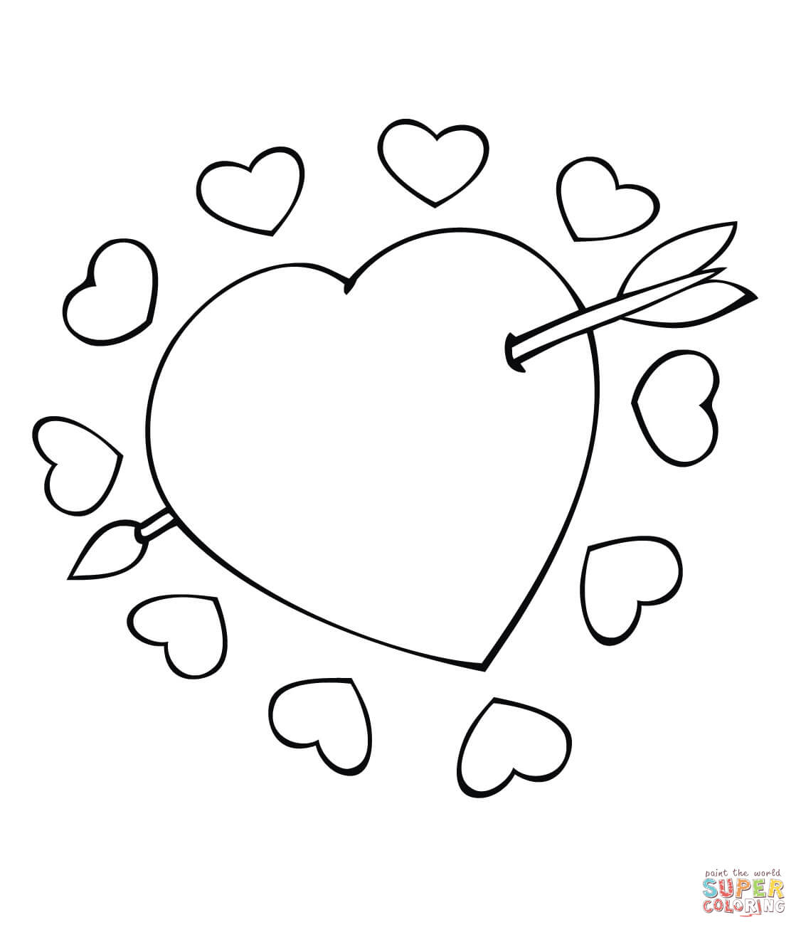 Cupid Arrow Through The Heart Coloring Page | Free Printable - Free Printable Pictures Of Cupid