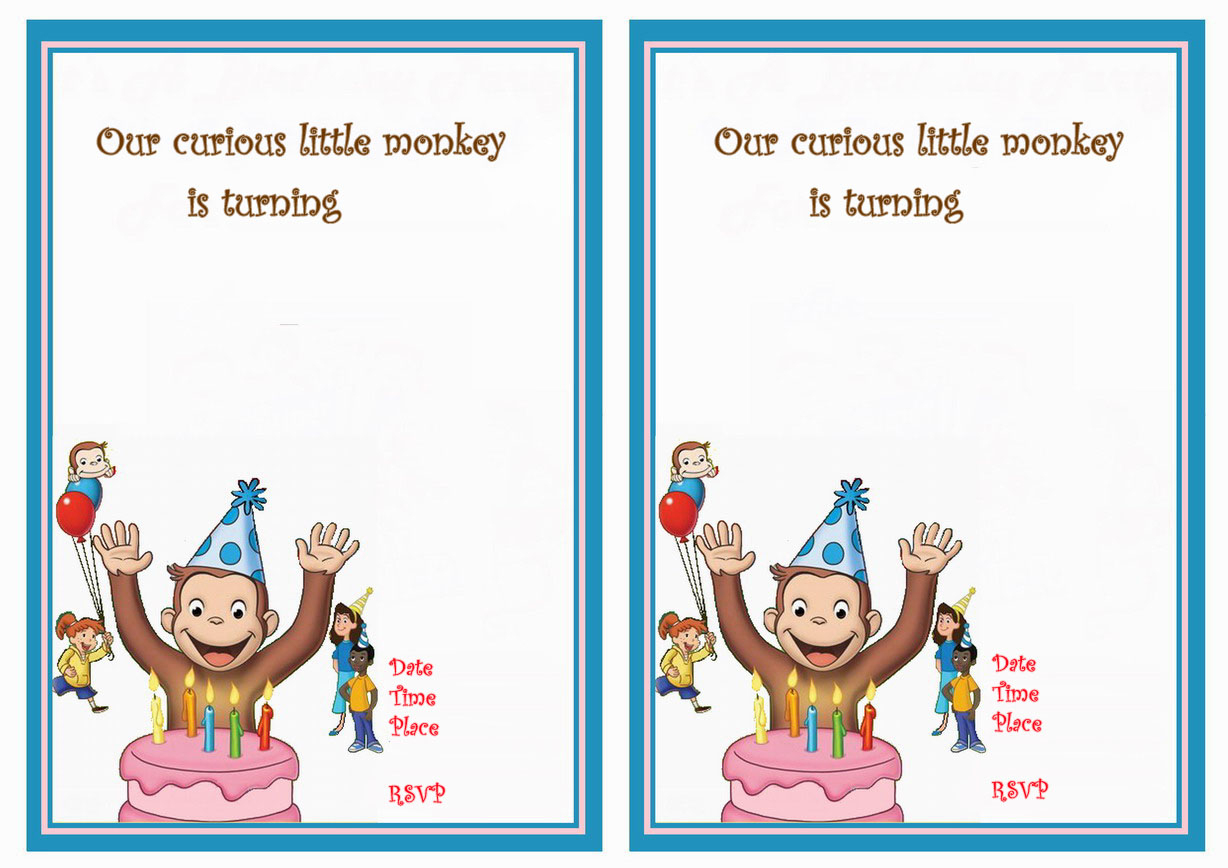 Curious George Birthday Invitations | Birthday Printable - Free Printable Curious George Invitations