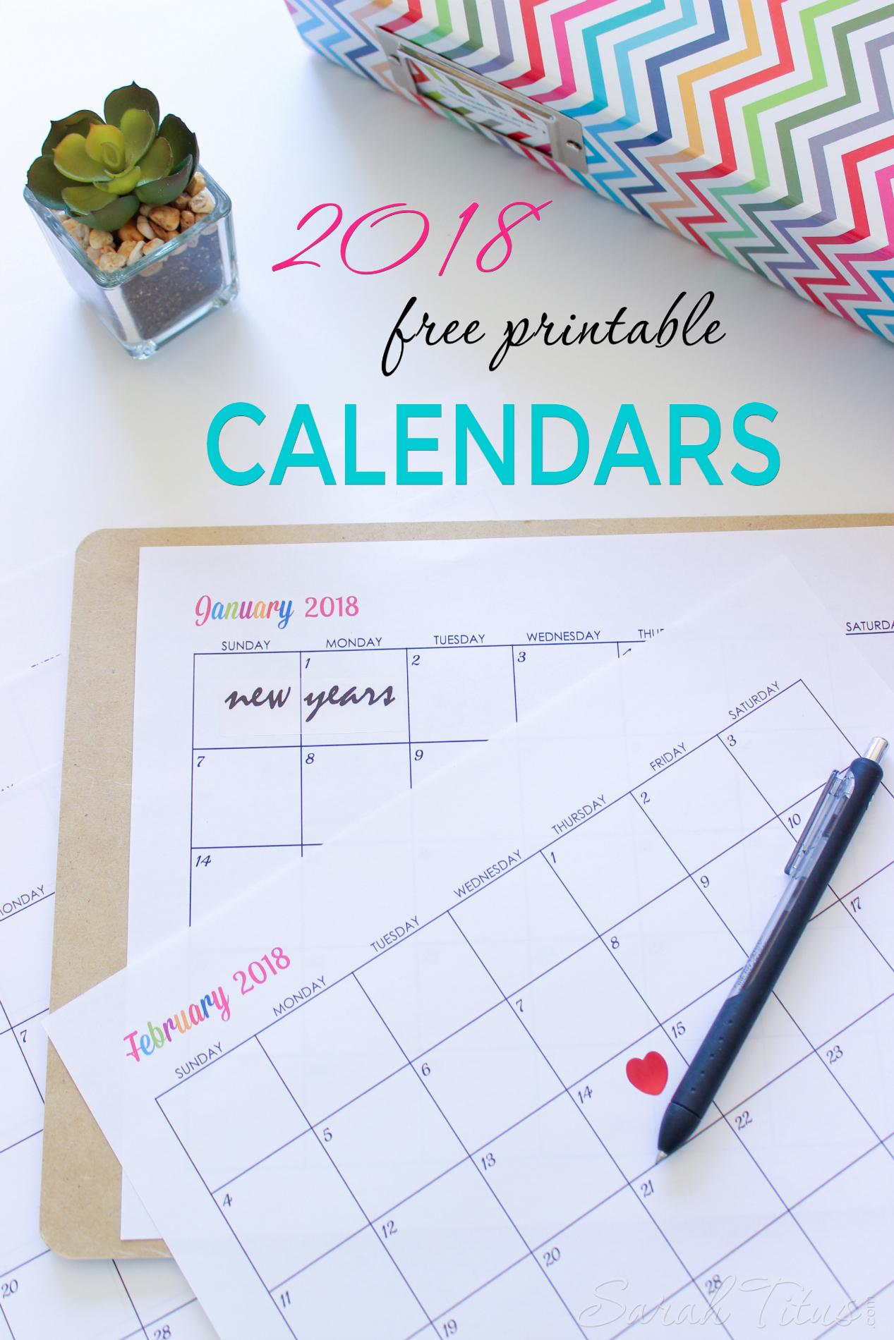 Custom Editable Free Printable 2018 Calendars - Sarah Titus - Free 2018 Planner Printable