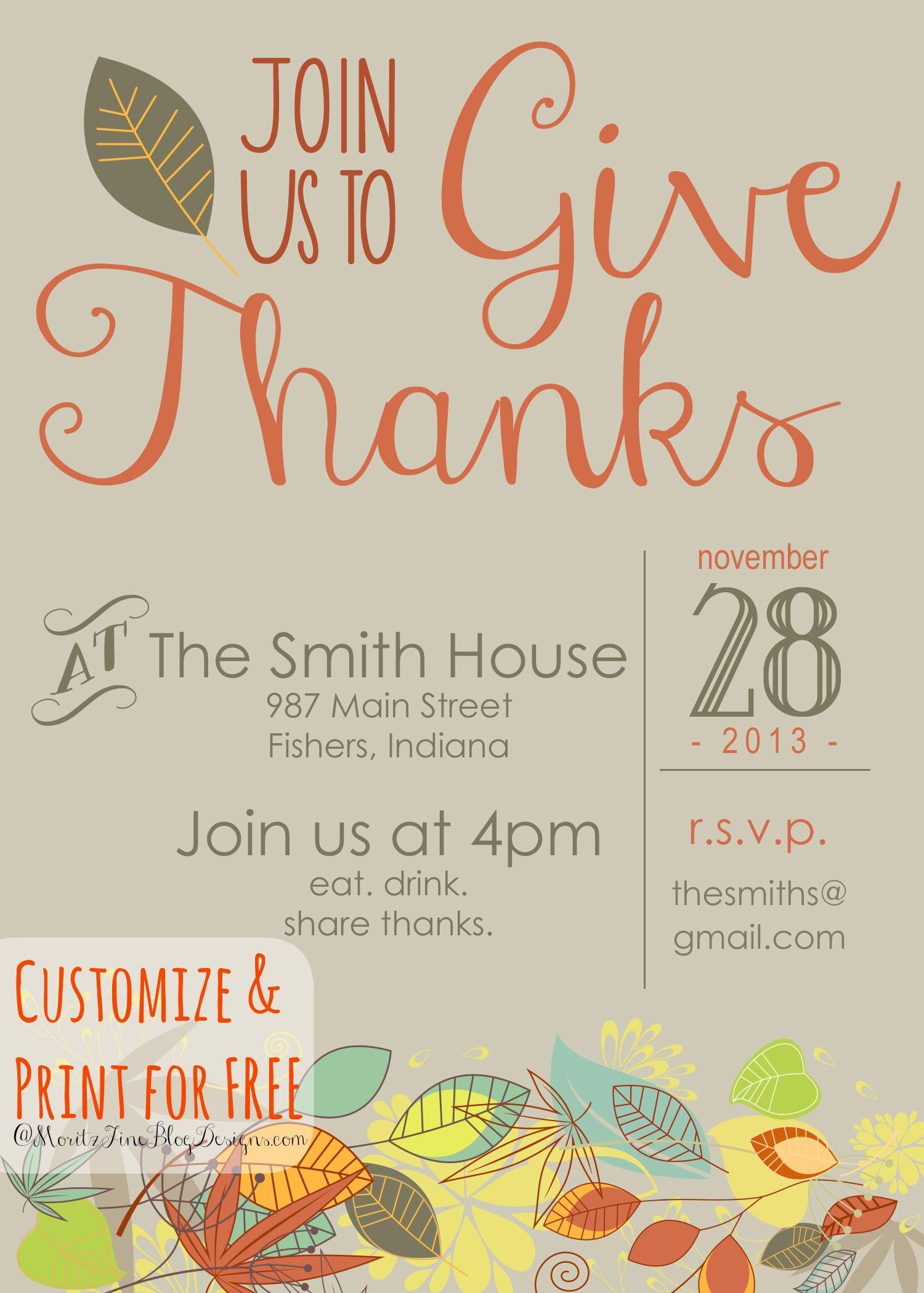 Customizable Thanksgiving Invitation | Recipe & Holiday Favorites - Free Printable Thanksgiving Invitations