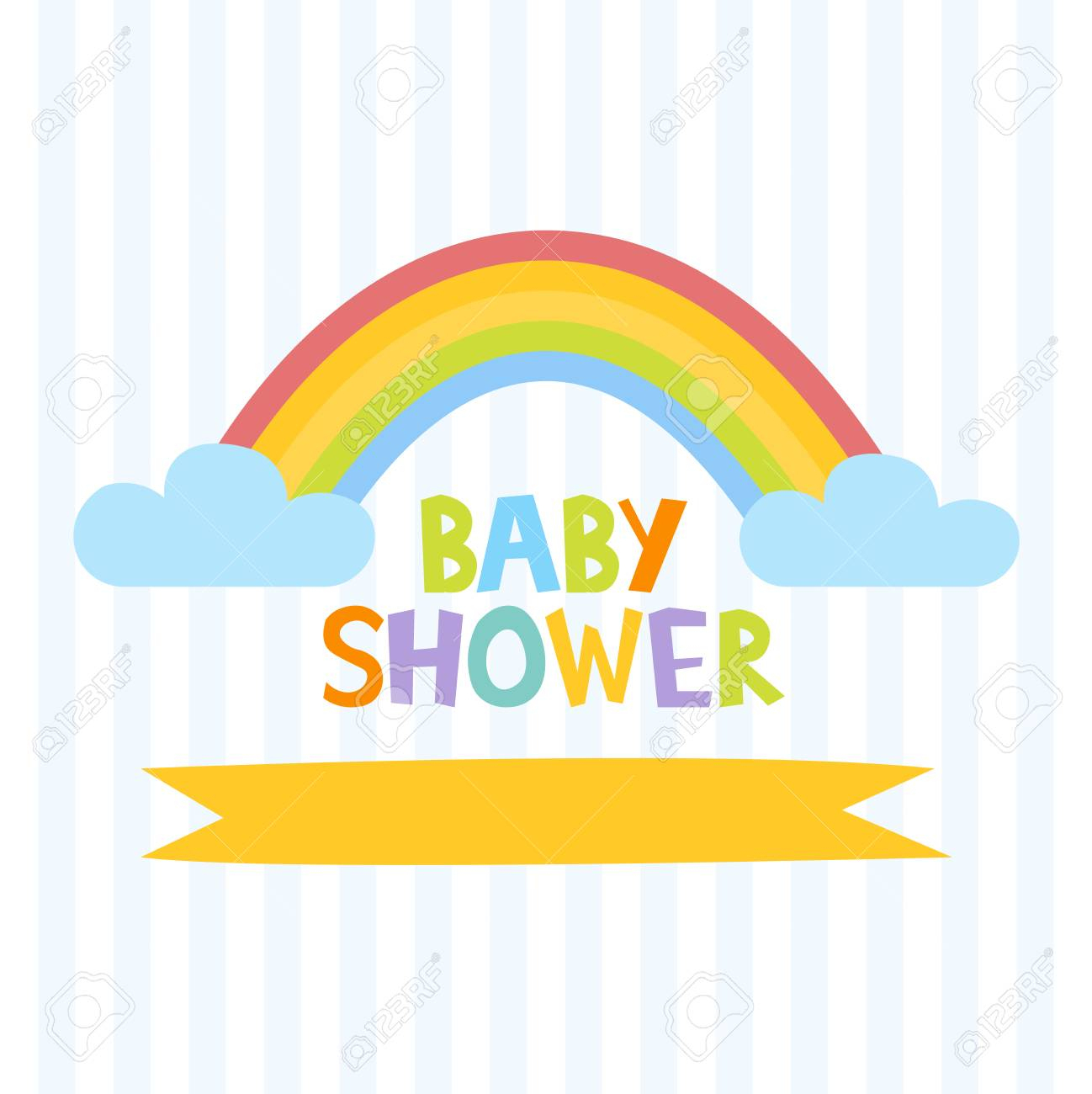 Cute Baby Shower Invitation Template With Letters And Rainbow - Free Printable Rainbow Letters
