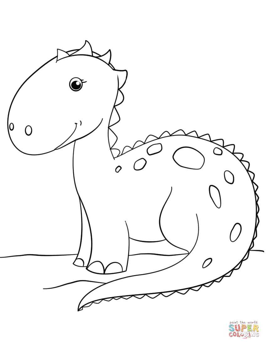 Cute Cartoon Dinosaur Coloring Page | Free Printable Coloring Pages - Free Printable Dinosaur Coloring Pages