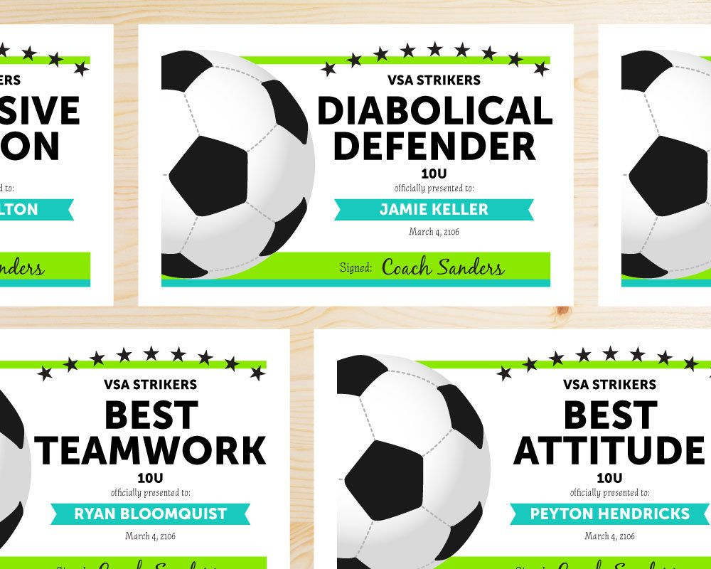 Cute Editable Soccer Award Certificates.hooray Workshop On Etsy - Free Soccer Award Certificates Printable